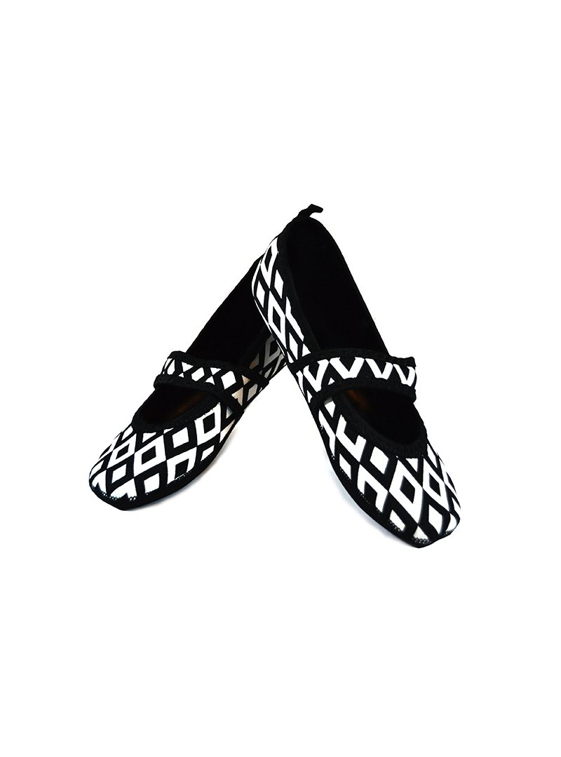 Nufoot Betsy Lou Women's Shoes, Best Foldable & Flexible Flats, Slipper Socks, Travel Slippers & Exercise Shoes, Dance Shoes, Yoga Socks, House Shoes, Indoor Slippers, Black/White Retro, Small