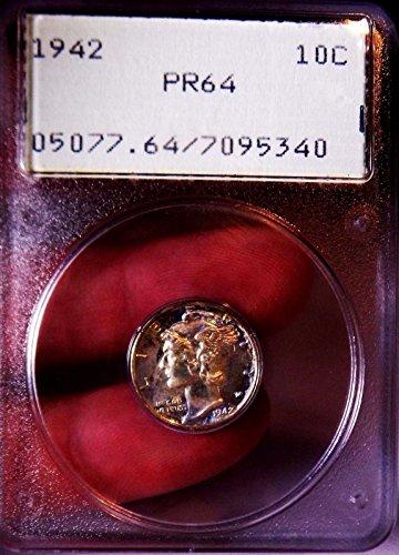 Mercury Dime 1942 PCGS PR 64++ Rainbow Old Rattler Ultra Rare PQ Monster Proof
