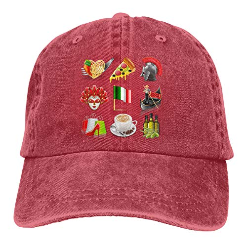 National Flags and National Icons (10) Cowboy Hat Baseball Hats Hiphop Adjustable Caps for Mens Womens Red ()