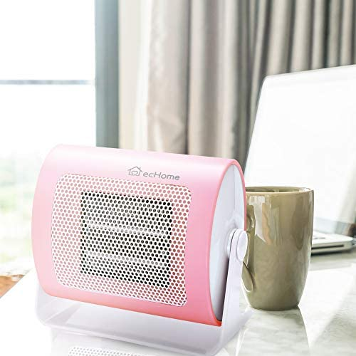 ecHome 500W Mini PTC Ceramic Fan Electric Heater with 90 Degree Oscillation Overheat Protection for Desk Home Office Use Handy Portable Silent Pink