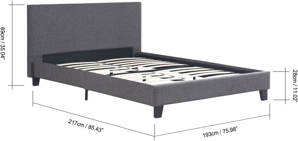 iKayaa - Estructura de cama, moderna, acolchada, con funda de lino, con somier de duelas de madera, que soporta hasta 200 kg