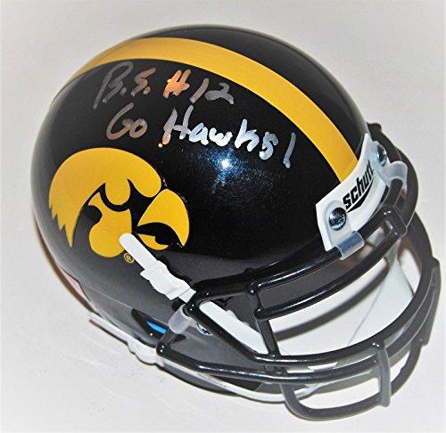 - BRANDON SMITH signed (IOWA HAWKEYES) mini football helmet *PROOF* W/COA #12 C - Autographed NHL Helmets and Masks