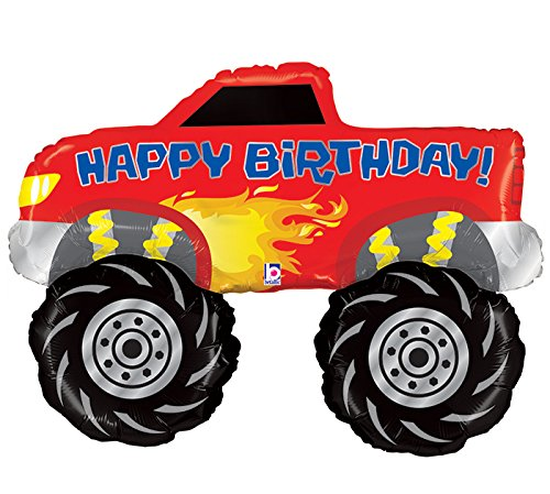 Single Source Party Supplies Happy Birthday Monster Truck Jumbo Foil Balloon -