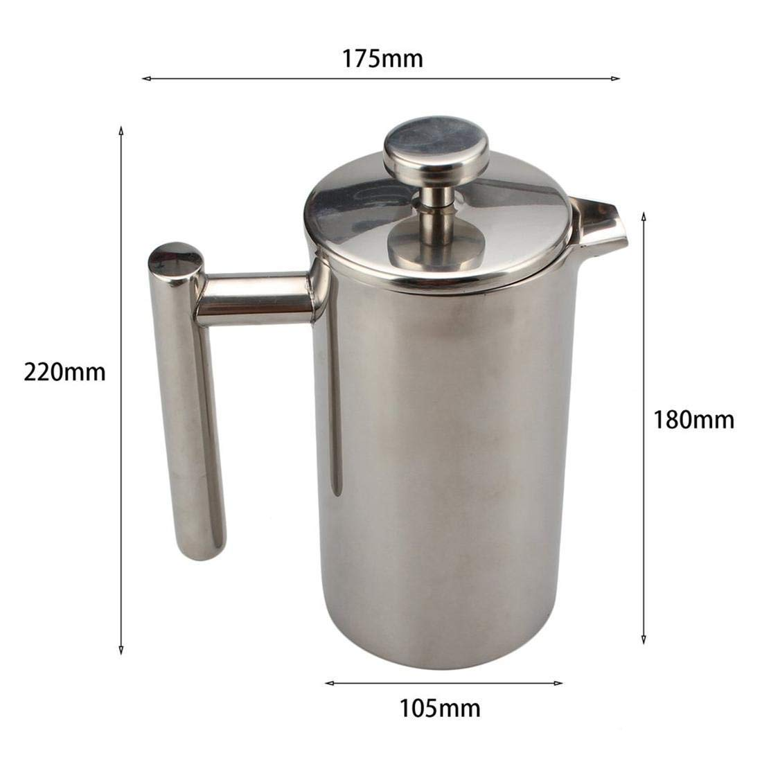Seatour 1000ML Stainless Steel Double Wall Insulated French Press Coffee Tea Pot with Filter by Seatour (Image #2)