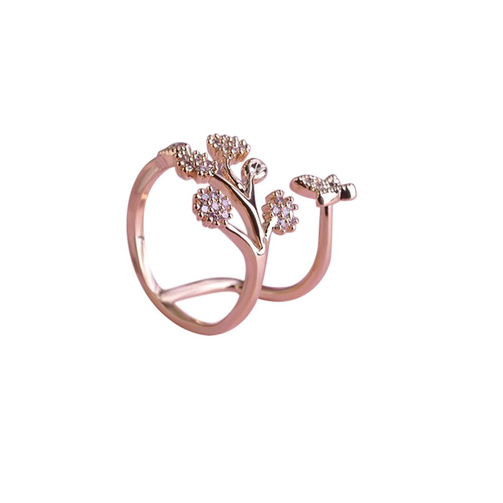 HUAMING Beautiful Fashion Women Butterfly Flower Vine Branch Ring Engagement Ring for Open Adjustable Ring Jewelry Gift (Rose Gold)