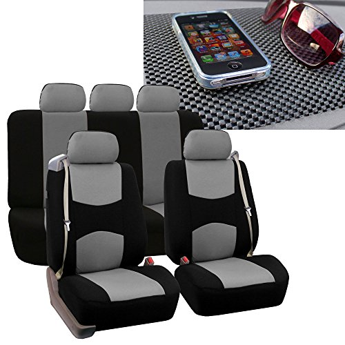 FH Group FH-FB351115 All Purpose Flat Cloth Built-in Seat Belt Seat Covers Gray/Black Color, Airbag Compatible and Split Bench W. FH1002 Non-Slip Dash Pad- Fit Most Car, Truck, SUV, or Van ()