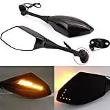 Black Motorcycle Side Rear View Mirrors with Turn Signal for Sport Bike Honda CBR600RR 2003-2011 CBR1000RR 2004-2007(Smooth Black+Smoke Lens)