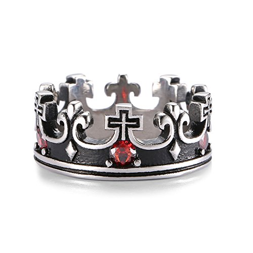 UOKOHO 5pcs Small Ruby Inaly Titanium and Stainless Steel Crown Band Ring for Mens & Womens Size 12