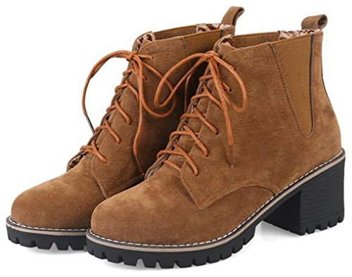 IDIFU Womens Trendy Lace Up Ankle Boots Short Martin Booties Mid Chunky Heels Brown vPQHj6fOT