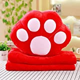 HOMEE Lovely Dog Paws Pillow Cushion Blankets Three-In-One Birthday Geek Gift of Boys and Girls to Hand Warmers,Red,4035Cm
