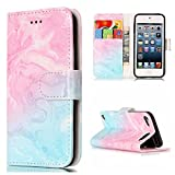 NEXCURIO iPod Touch 6 / Touch 5 Wallet Case with Card Holder Folding Kickstand Leather Case Flip Cover for Apple iPod Touch 6 / Touch 5 (Pink-Blue Marble)