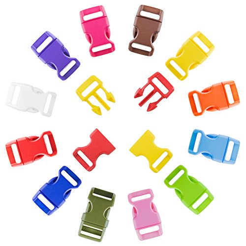 Craft County 60 PCS 12 Color Pack 5/8 Inch Plastic Quick Side Release Buckle (Colored Buckle)