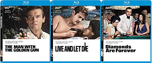 James Bond Film Collection 7/8/9 Diamonds are Forever - Live & Let Die & Man with the Golden Gun 007 Blu Ray three films Action Movie Set