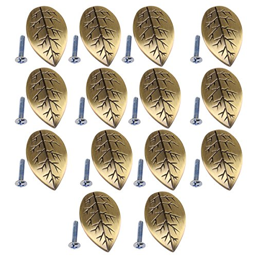 MagiDeal 14 Pieces Leaf Shaped Wardrobe Cabinet Door Drawer Closet Cupboard Bin Handle Pull Grip Knob Bronze Tone