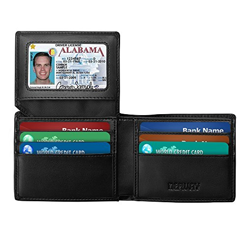 Genuine Leather RFID Blocking Slim Bifold Wallet for men with ID Window, Multi Card Extra Capacity Travel Wallet