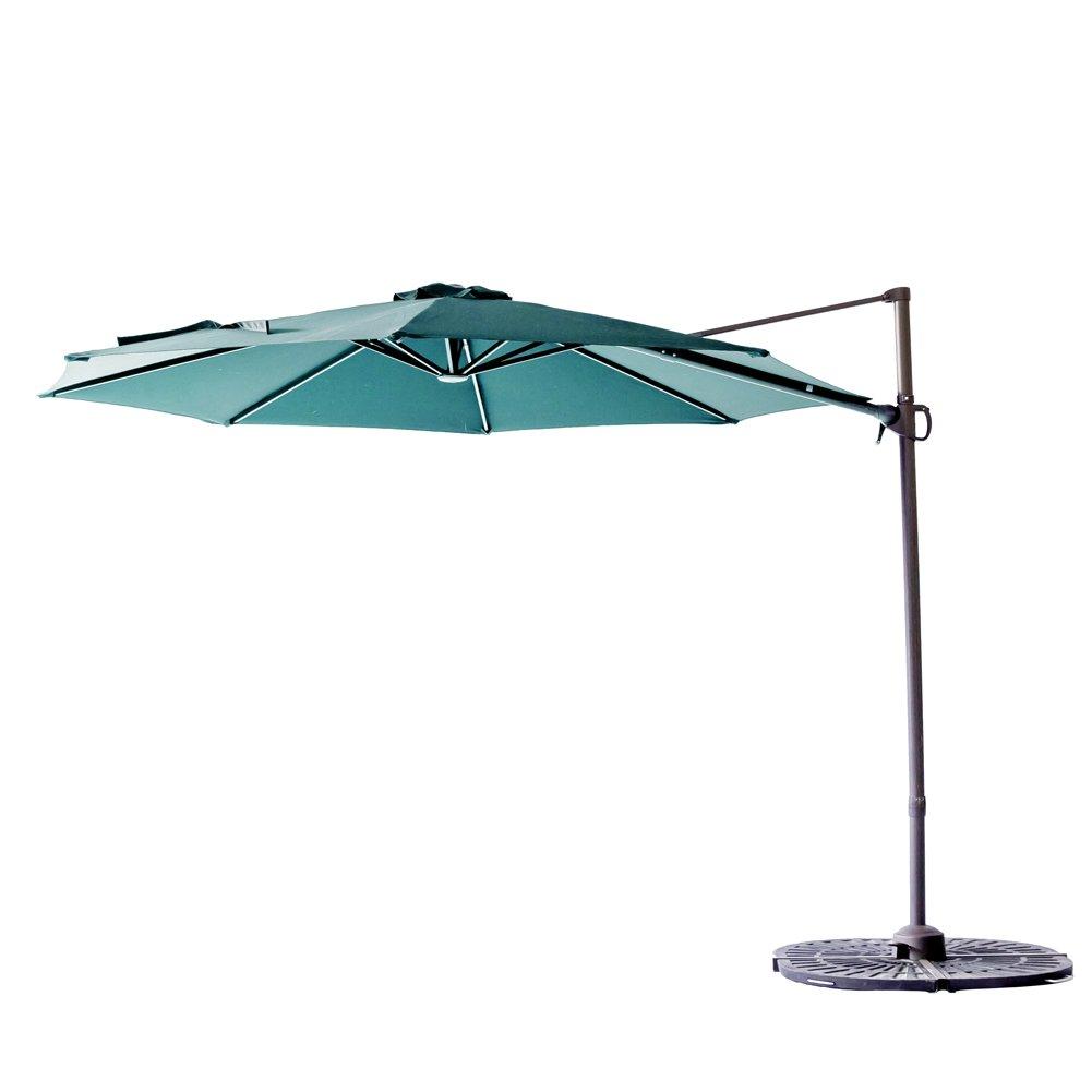 C-Hopetree 10' Cantilever Offset Garden Umbrella, Hanging Outdoor Patio Umbrella, Infinite Tilting, 360° Rotation, Cross Base, Large Round, Aqua Blue