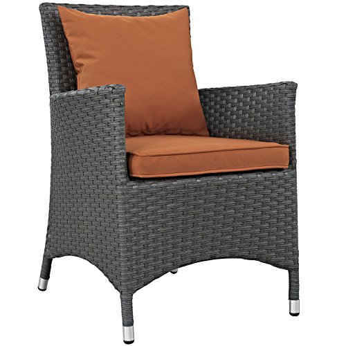 Modway EEI-1924-CHC-TUS Sojourn Wicker Rattan Outdoor Patio Coffee Table, Dining Chair, Tuscan Orange