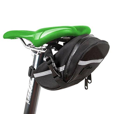 BOGZON Waterproof Mountain Bicycle Rear Seat Pack, Bike Saddle Bag/Handlebar Bag/Strap on Bag/Toolkit, Black
