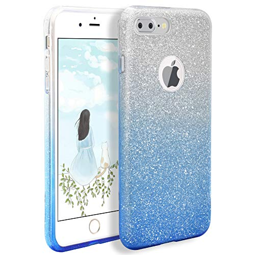 - BIBERCAS iPhone 7 Plus Case,Glitter Bling Sparkle Phone Case,Ultra Slim Fit Gradual Sequin Crystal Protective Cover,Soft Rubber Flexible Hard Back Case for Apple iPhone 7 Plus 5.5inch-Blue