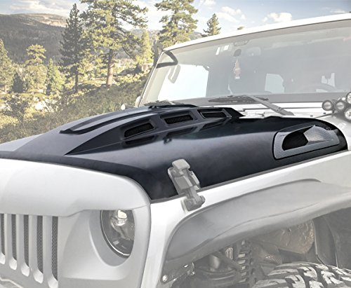 Price comparison product image ICARS AVG Style Heat Steel Reduction Hood W / Vents Hood for 2007 2008 2009 2010 2011 2012 2014 2013 2014 2015 2016 2017 Jeep Wrangler JK JKU