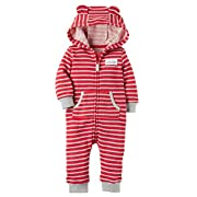 Carter's Baby Boys Brushed Fleece Hooded Romper Jumpsuit, Awesome Little Guy Red, 9 Months …