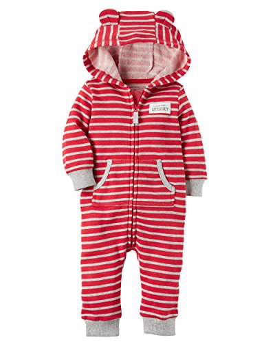 Carter's Baby Boys Brushed Fleece Hooded Romper Jumpsuit, Awesome Little Guy Red, 12 Months,12 Months,Awesome Little Guy Red (Applique Baby Booties)