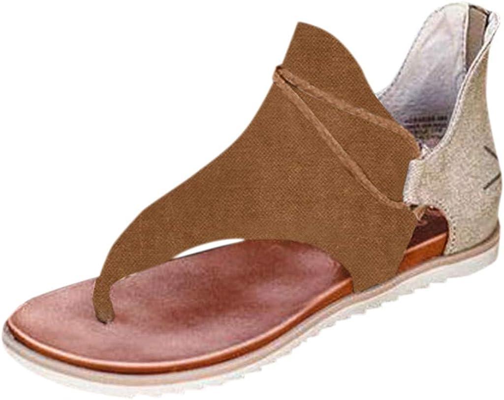Womens Thong Style Clip Toe Sandals Espadrille Flip-Flop Gladiator Roman Retro Sandal Zipper Flat Beach Shoes