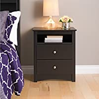 Edenvale 2-Drawer Tall Nightstand with Open Cubbie Contains 2 drawers Black rich espresso laminate finish Solid finished, antique bronze Product Dimensions (L x W x H): 16.00 x 23.25 x 28.00 Inches
