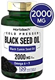 Black Seed Oil 2000mg | 120 Softgel Capsules | Cold Pressed Liquid Softgels | Non-GMO, Gluten Free | by Horbaach
