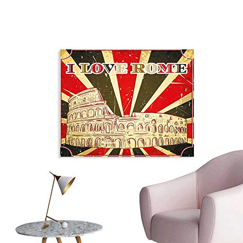 - J Chief Sky Quote Wall Picture Decoration I Love Rome Lettering with Circus Tent and Bold Stripes Ancient Print Wall Stickers for Kids Room W36 xL32
