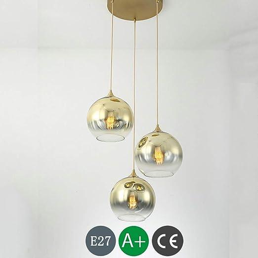 Lámpara de araña E27 Lámpara colgante de vidrio dorado Altura ...