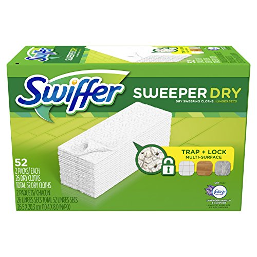 Swiffer Sweeper Dry Mop Pad Refills for Floor Mopping and Cleaning, All Purpose Floor Cleaning Product, Lavender Vanilla and Comfort Scent, 52 Count