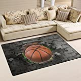 Naanle Sport Area Rug 3'x5′, Basketball Polyester Area Rug Mat for Living Dining Dorm Room Bedroom Home Decorative