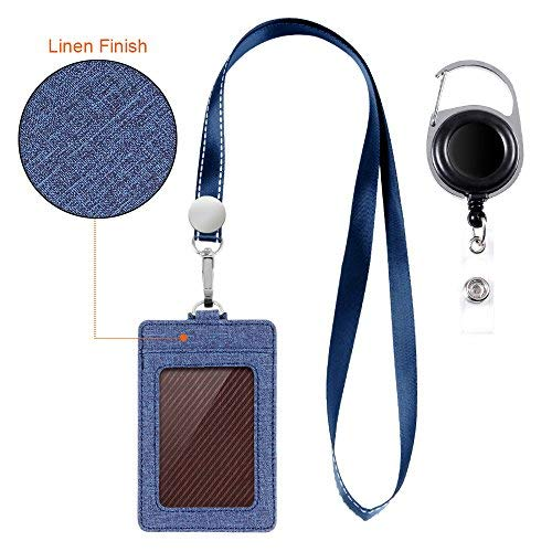 - Life-Mate Badge Holder - Leather ID Badge Card Holder Wallet Case with 3 Cards Slot and Neck Lanyard/Strap. Additional Retractable Badge Reel with Belt Clip (Dark Blue, Linen Finish)