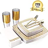 FOCUS LINE 175PCS Gold Disposable Dinnerware Sets for Party Wedding 25 Guests Square Dinner Plastic Plates Dessert Plates & Plastic Silverware Set & Cups & Napkins