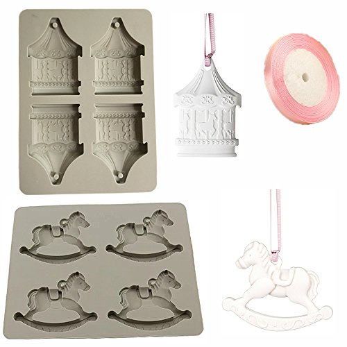 Efivs Arts 2 Set Silicone Candle Molds Handmade Soap Making Mold Plaster Candy Cake Backing Making Tray 4 Cavity Carousel Horse Withlocals with Satin Ribbon by Efivs Arts