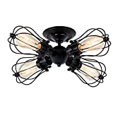 CGJDZMD Industrial Ceiling Lights Adjustable Socket Vintage Chandeliers Metal Wire Cage Lamp Semi-Flush Mount Rustic Ceiling Light Indoor Home Retro Lighting Ceiling Light ( Color : Style A )