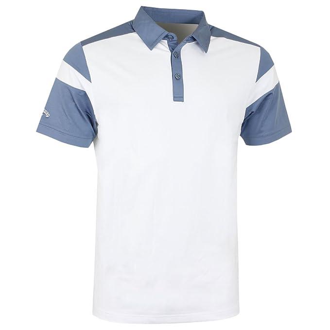 Callaway Chev Blocked Polo de Golf, Hombre, Blanco/Azul, S: Amazon ...