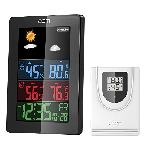AOMKS Weather Station, Indoor Outdoor Thermometer with Sensor, Outdoor Digital Thermometers Weather Clocks with Temperature/Humidity/Calendar (Black) (Temp Clock)
