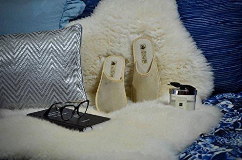 Pantuflas Lana Para Casa Gamuza 940a Lujo Zapatillas Natural Mujer Beige Piel Con Carnero De TCxw8q8a