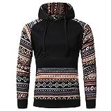 Men Long-sleeved Blouse,FAPIZI Retro Hoodie Hooded Sweatshirt Jacket Coat Outwear Hoodie (2X-Large, Black)