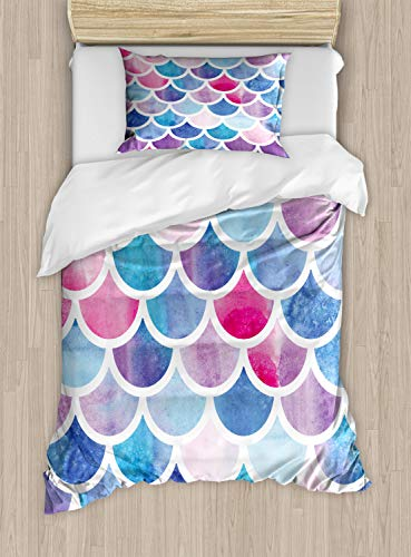 Ambesonne Fish Scale Duvet Cover Set, Circles with Pastel Watercolors Mermaid Pattern Tropical Illustration, Decorative 2 Piece Bedding Set with 1 Pillow Sham, Twin Size, Pink Blue ()
