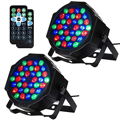 Litake DJ Stage Lights, 36 LED DJ Par Lights Controlled by Remote and DMX,Sound Activated Stage Lighting for Dance Party DJ Show-2 Pack