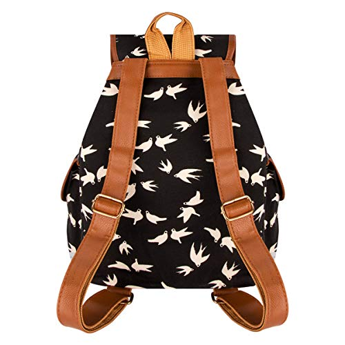 Leisure Canvas Bag Xidan Retro Backpack Shoulder Black Travel Printed Floral Swallow FL1 qwUI7a