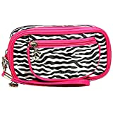 Hot Pink Zebra Cosmetic Makeup Wristlet, Bags Central