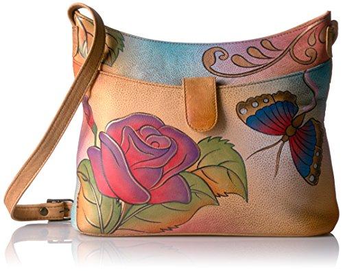 Anuschka Anna by Handpainted Small Shoulder Bag-Rose Butt...