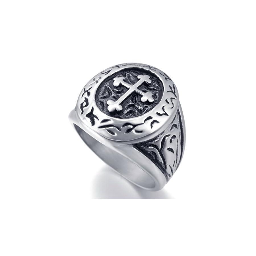 INBLUE Men's Stainless Steel Ring Silver Tone Black Cross Oval