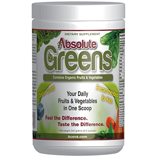 Absolute Greens -242 grams- A GUARANTEED DELICIOUS way of providing the antioxidant power of over 10 servings of fruits & vegetables in every scoop! by Aceva