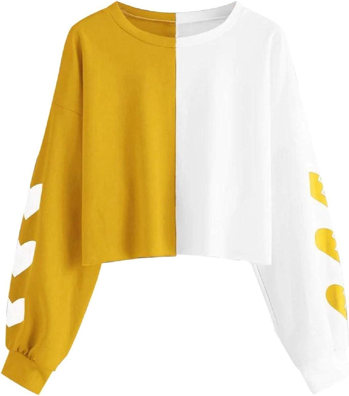 Cropped Sweatshirt for Women FAPIZI Women Fashion Color Block Splice Long Sleeve Crew Neck Pullover Casual Loose Tops