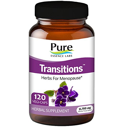 Transitions by Pure Essence Labs - Natural Menopause Relief Supplement - Promotes Hormone Balance, Reduces Hot Flashes, Mood Swings, Night Sweats - 120 Capsules (Capsules 120 Balance)
